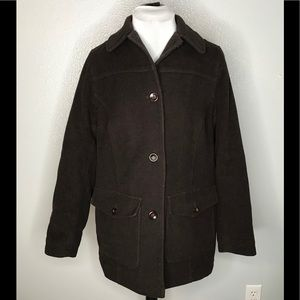 Dark Brown LL Bean Wool Jacket, size Medium.